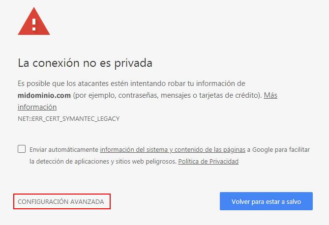 Conexión no privada (Chrome)