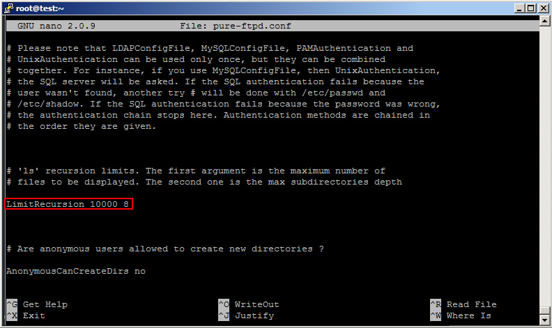Editar configuración FTP