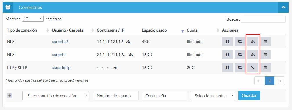 Botón gestionar IPs