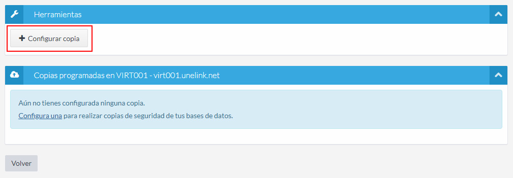 Configurar copia base de datos