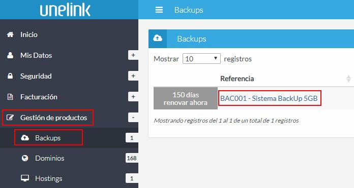 Listado de backups