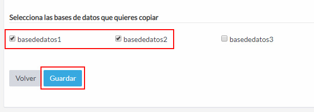 Selección de bases de datos