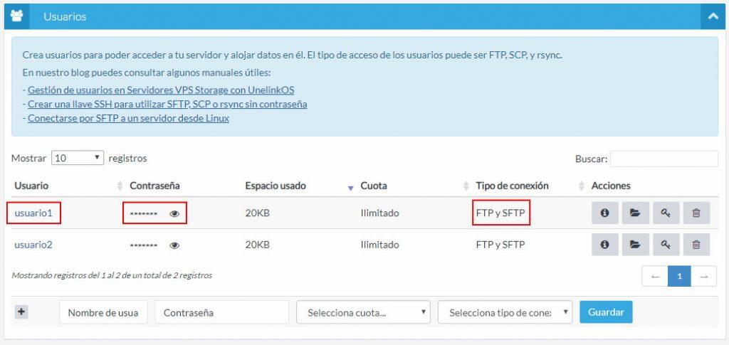 Usuarios FTP UnelinkOS