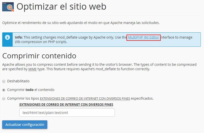 Activar compresión scripts PHP