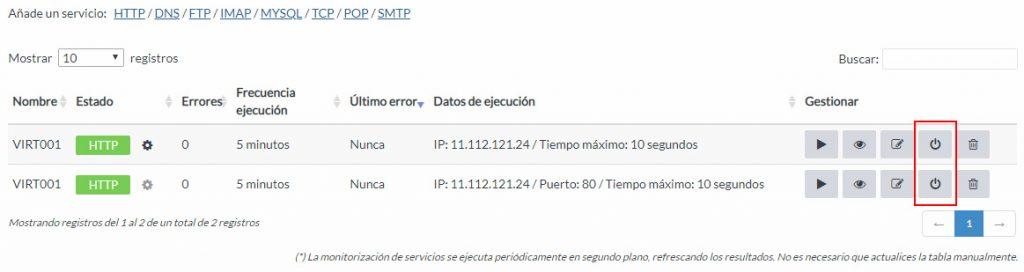 Desactivar monitorización proactiva