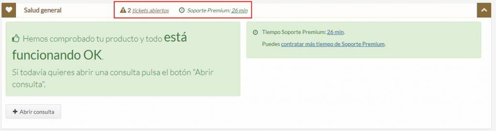Tickets abiertos y tiempo de Soporte Premium