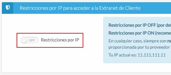 Activar restricciones por IP