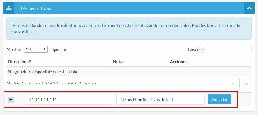 Añadir IPs permitidas