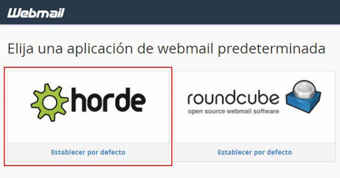 Selección Webmail
