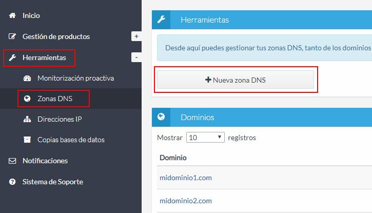 Nueva zona DNS