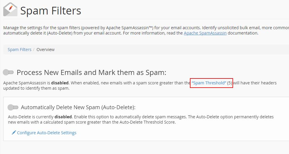 Opciones SpamAssassin