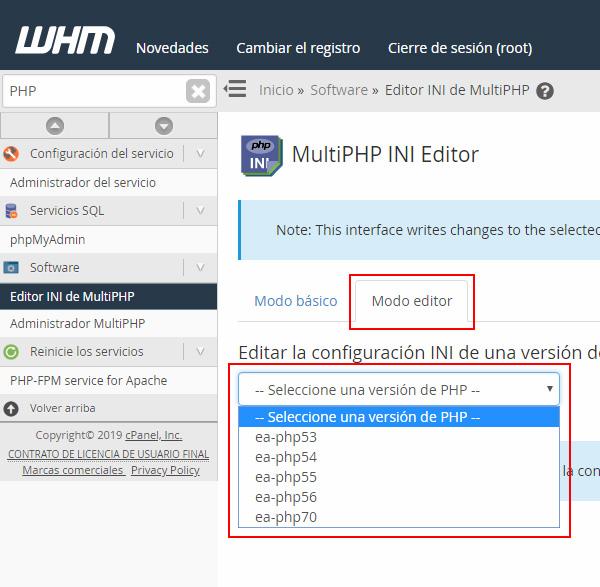 Selección versión PHP