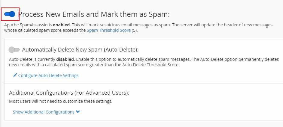 SpamAssassin activado