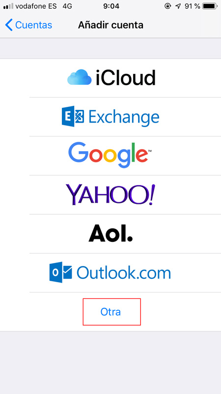 Tipos de cuenta de correo
