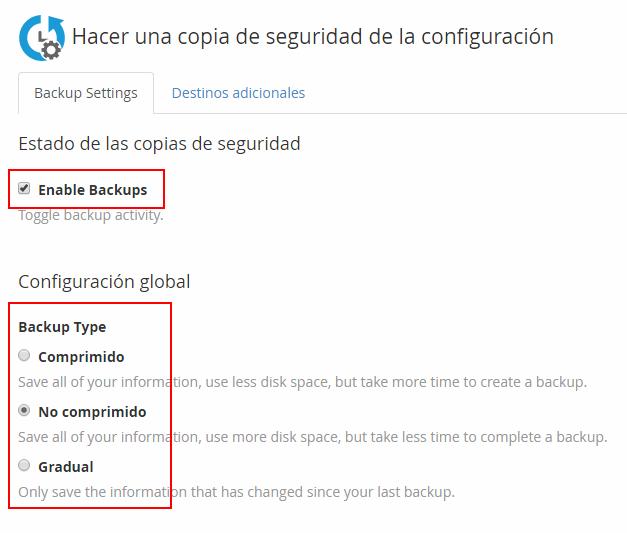 Activar backups