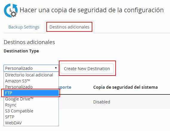 Configuración backup