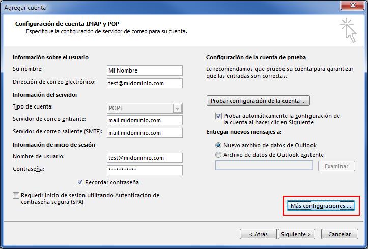 Configuración de cuenta IMAP y POP