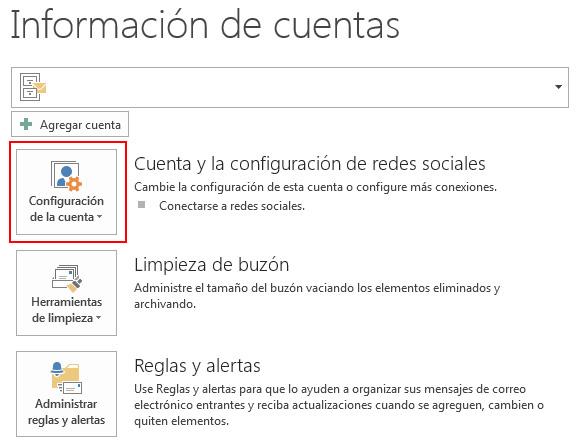 Cuenta y configuración de redes sociales