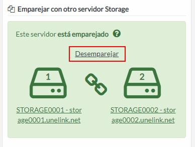 Desemparejar servidores