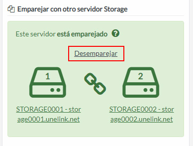 Desemparejar servidores Storage