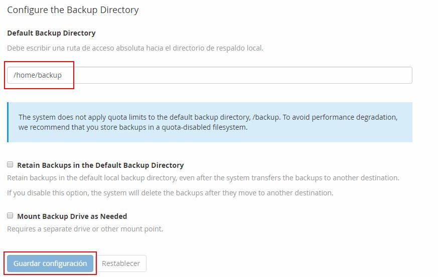 Directorio backups