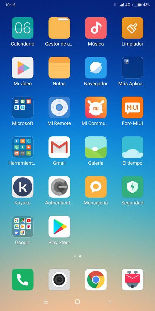 Pantalla principal Android