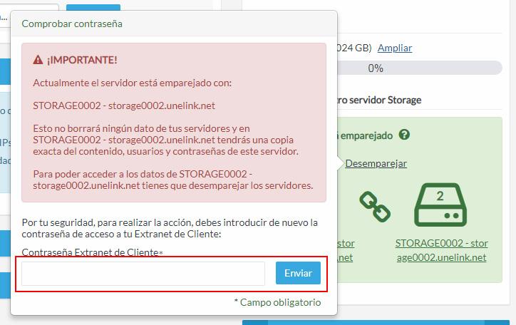 Contraseña de acceso a la Extranet de Cliente