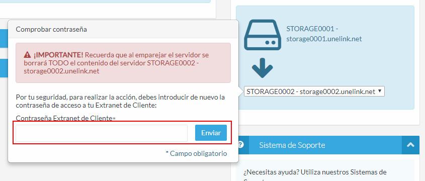 Introduce la contraseña de acceso a tu Extranet de Cliente