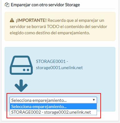 Selección servidor Storage destino