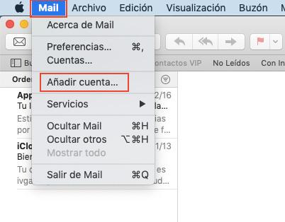 Añadir cuenta de correo