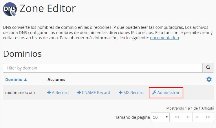Añadir registros DNS