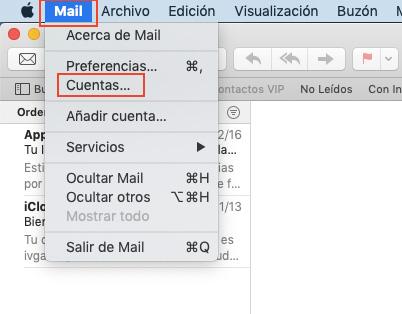 Cuentas configuradas en Mail