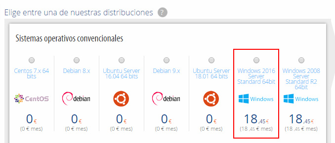 Elige distribución Windows Server 2016