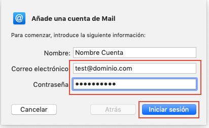 Indicar cuenta de correo