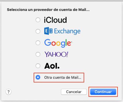 Seleccionar proveedor de e-mail