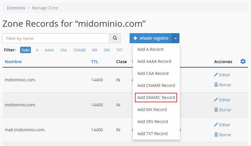 Añadir registro DMARC