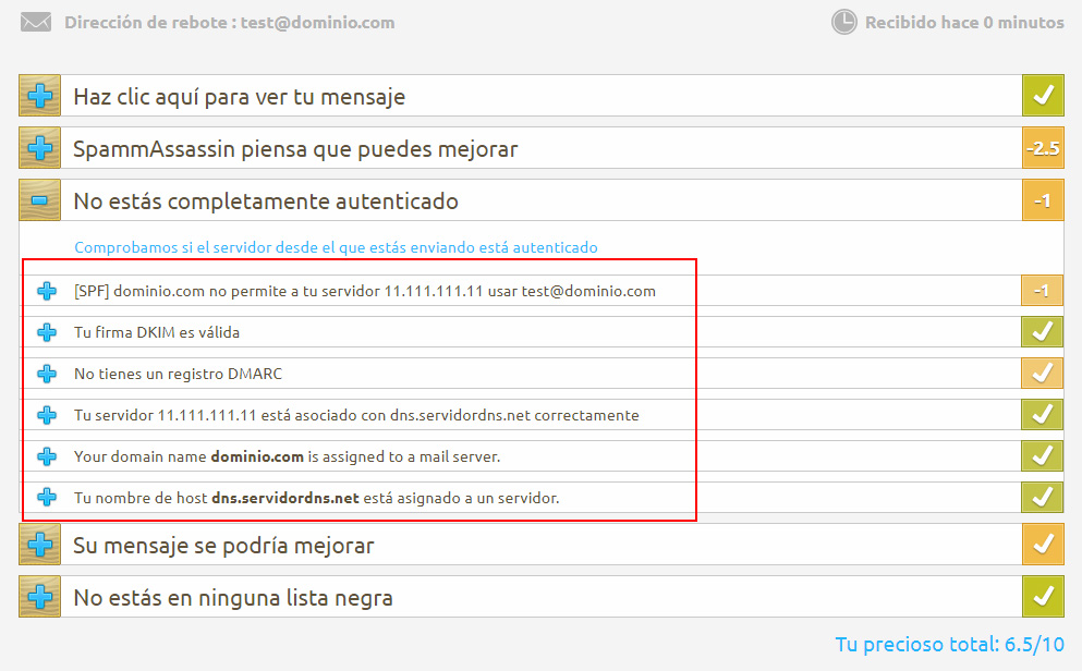 Sugerencias Mail Tester
