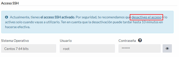 Desactivar SSH