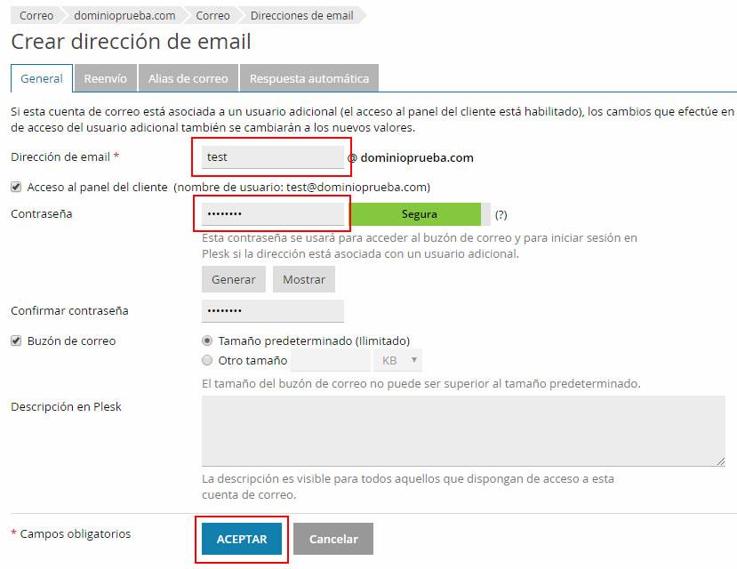 Crear cuenta de correo