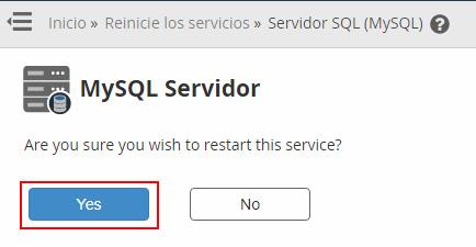 Reiniciar MySQL