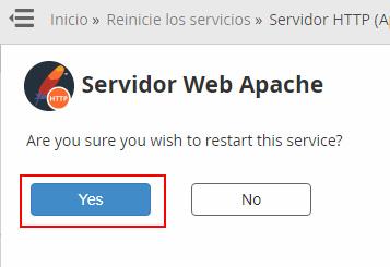 Reiniciar el servicio web