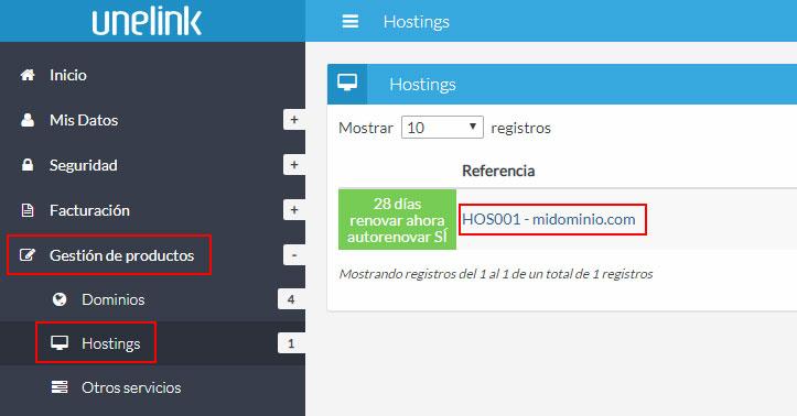 Listado de hostings