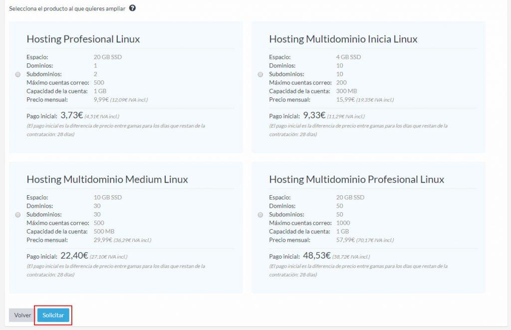Productos ampliación hosting