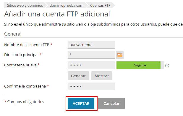 Alta de cuenta FTP