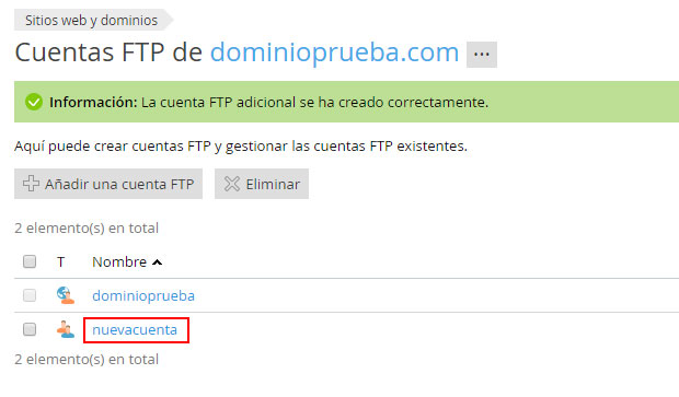 Cuenta FTP creada