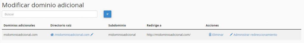 Listado de dominios adicionales