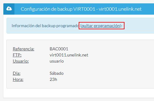 Quitar programación backup
