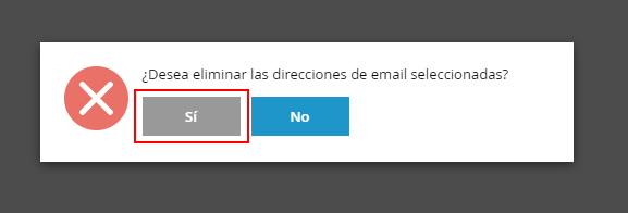 Confirmar borrado de email